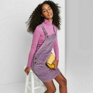 Wild Fable Purple Corduroy Overalls Dress